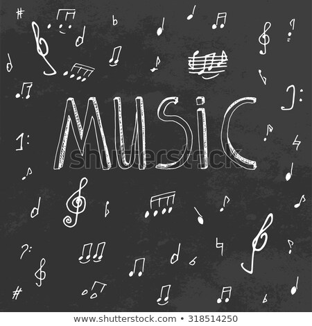 musical notation sign on blackboard stock photo © PixelsAway
