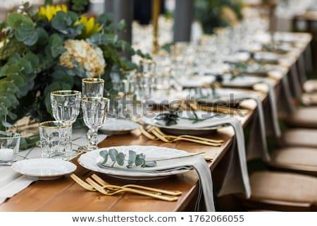Esküvői fogadás asztal dekoráció virágmintás egyezség orgona Stock fotó © KMWPhotography