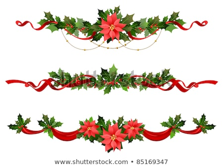 Stock photo: Christmas border ribbons and flower