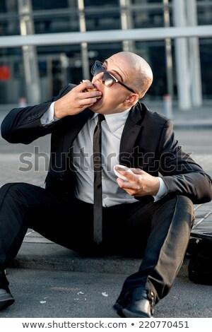 Portre kel adam yeme sokak Paris Stok fotoğraf © sarymsakov