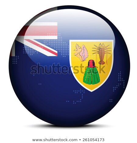 map with dot pattern on flag button of turks and caicos islands stock photo © istanbul2009