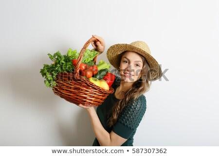 Сток-фото: счастливым · корзины · полный · здоровое · питание