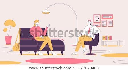 terapeuta · confortevole · paziente · bianco · stress · divano - foto d'archivio © wavebreak_media
