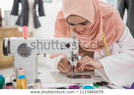 デザイナー ミシン ワークショップ 小さな 女性 ビジネス ストックフォト © deandrobot