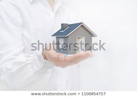pequeño · casa · mano · blanco - foto stock © nithin_abraham