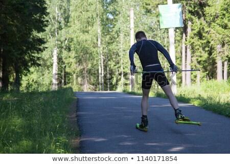 çapraz ülke Kayak koşucu orman Stok fotoğraf © stickasa