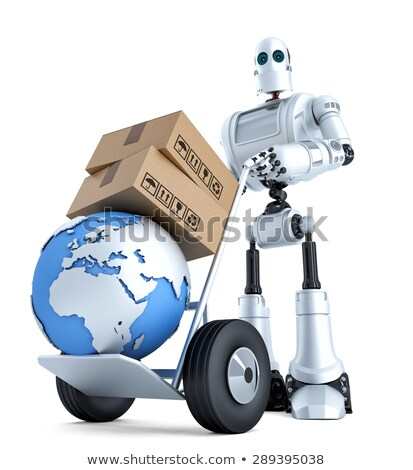 robot with hand truck and stack of boxes isolated contains clipping path stock photo © kirill_m