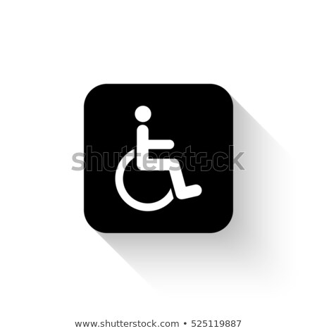 Stock photo: White paper icon disabled person in wheelchair