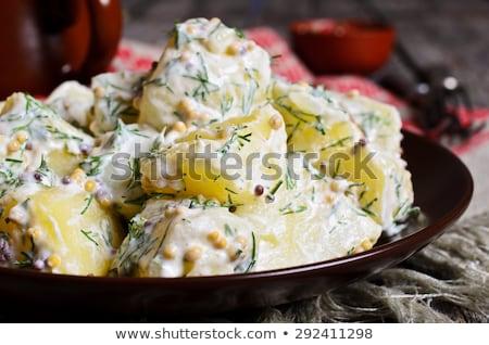 Mustár burgonyasaláta csíkok sonka snidling üveg Stock fotó © Digifoodstock