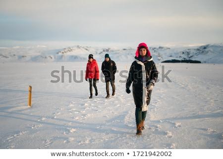 férfi · mező · égbolt · nap · tájkép · hó - stock fotó © Paha_L