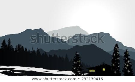 eenzaam · boom · mist · een · landschap · bewolkt - stockfoto © kotenko