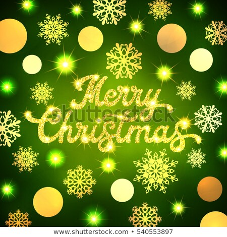Merry Christmas - green glittering lettering design with snowflakes pattern  stock photo © rommeo79