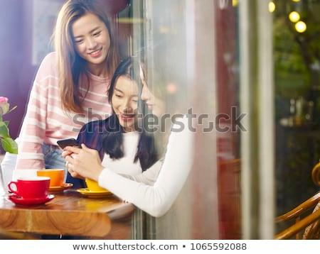 Tea idő asztal szett teáscsésze tányér Stock fotó © madelaide