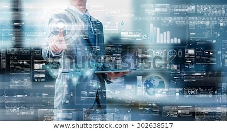 データ · 管理 · インターフェース · 世界地図 · 青 · 手 - ストックフォト © tashatuvango