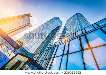 Horizonte Frankfurt edificios de oficinas puesta de sol moderna oficina Foto stock © meinzahn