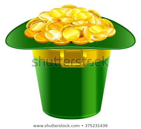 patrick hat full of gold coins patrick green hat with gold buckle stock photo © orensila