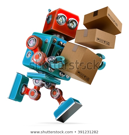 Robot in a rush delivering a package. Parcel Service. Isolated. Contains clipping path Stock photo © Kirill_M