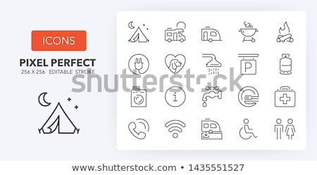 rv camping sign line icon stock photo © rastudio