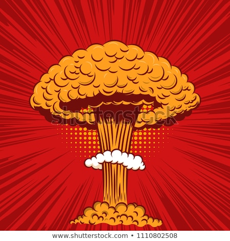Nucleaire explosie radioactieve champignon pop art retro Stockfoto © studiostoks