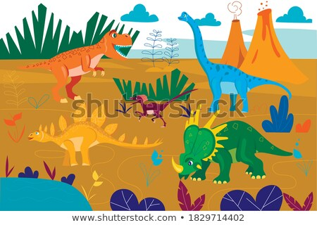 Dinosaures habitat paysage fond art graphique Photo stock © ConceptCafe