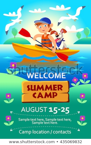 Kid's summer camp poster or flier with a boy in the boat. Stock photo © natalya_zimina