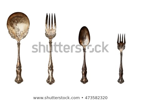 Antique Silverware over Grunge Background Stock photo © StephanieFrey