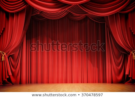 Red stage curtain with spotlight Stock photo © Noedelhap