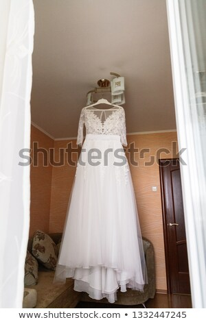 Сток-фото: The Bride Young Women With Wedding Dress In Very Bright Room