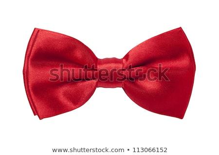 Piros csokornyakkendő arany szatén buli pezsgő Stock fotó © pakete