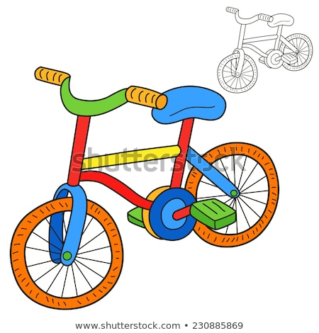 Kleurrijk Rood cartoon fiets schets tekening Stockfoto © adrian_n