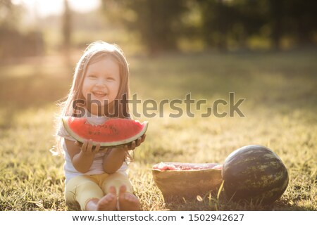 Four young cute funny girls eating watermelon Stock photo © deandrobot