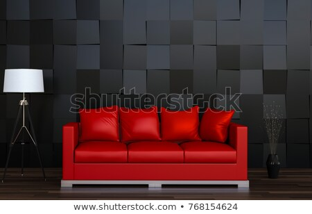 Foto d'archivio: Rosso · nero · pelle · divano · realistico · casa