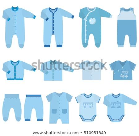 Foto stock: Baby Clothing Set Blue Jacket And Pants