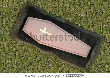 Wooden coffin with cross symbol Stock photo © bluering