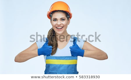 young construction worker wearing coveralls isolated on white stock photo © elnur