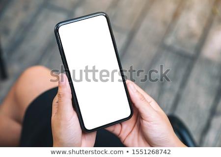 Stock fotó: Nő · okostelefon · felfelé · képernyő · copy · space · felső