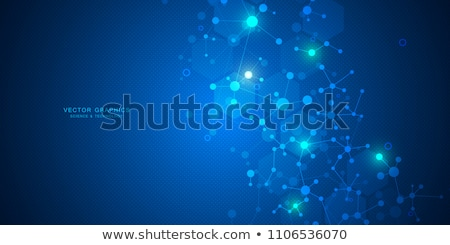 science medicine and technology concepts as dna molecule on dark background with connection lines stock photo © adam121