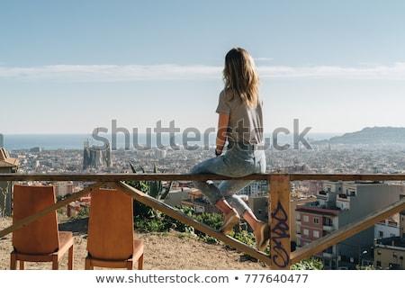 Madarak szem kilátás Barcelona színes város Stock fotó © artjazz