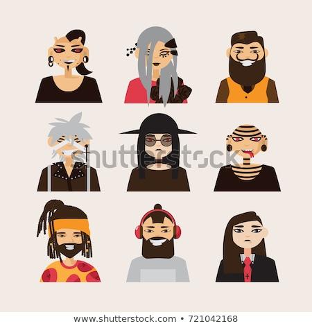 Set in a flat style avatars male and female goths Stock photo © UrchenkoJulia
