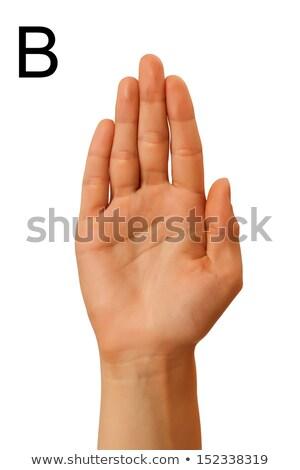 Mudo alfabeto mão branco sinalizar isolado Foto stock © dadoodas