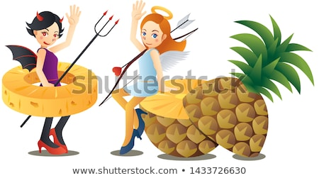 Evil girl with pineapple Stock photo © deandrobot
