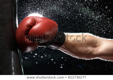 Cropped photo of young strong sports man boxer Stock photo © deandrobot
