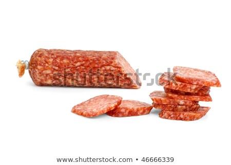 half · salami · worst · geïsoleerd - stockfoto © digitalr