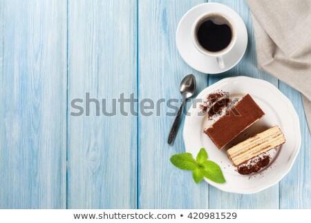 beker · koffie · stuk · cake · voedsel · thee - stockfoto © g215