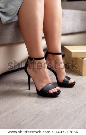 Siyah deri yansıma yalıtılmış beyaz kadın Stok fotoğraf © gsermek