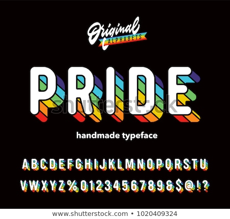 Gay rainbow lettering. LGBT typography letters sign Stock photo © popaukropa