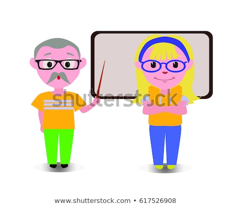 old couple teaching lesson with black board happy cartoon characters in flat vector stock photo © loud-mango