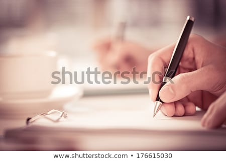 iş · kadını · eller · yazı · genç · mavi - stok fotoğraf © kurhan