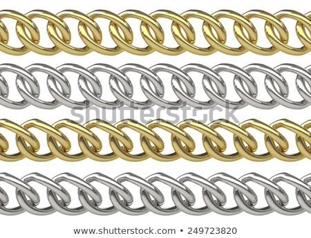 Sem costura cadeias dourado prata isolado branco Foto stock © pakete