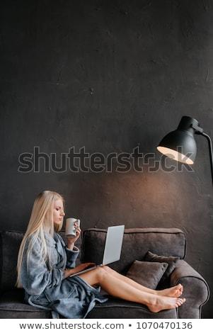 Sexy girl sofá chica atractiva almohada manos negro Foto stock © bezikus